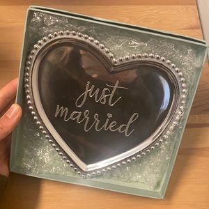Just Married Beaded Silver Dish
